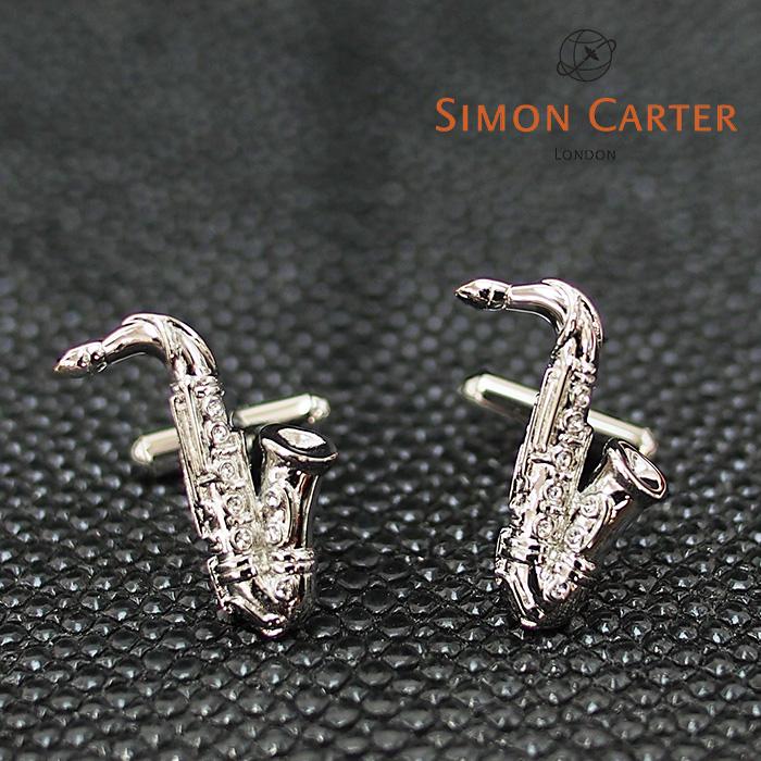 SIMON CARTER サイモンカーター カフス カフリンクス サックス サクソフォン シルバー×スワロフスキー 25TH ANNIVERSARY Saxaphone サイモンカーター カフス カフスボタン メンズ