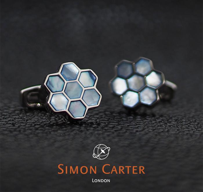 SIMON CARTER サイモンカーター カフス カフリンクス カフスボタン HONEY COMB ブルー×シルバー BLUE MOP 蜂の巣 ハチの巣 サイモンカーター カフス