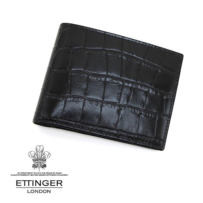 ETTINGER エッティンガー CROCO COLLECTION/クロココレクション 141JR EBONY クロコ型押し二つ折り財布 小銭入れ付き ブラック