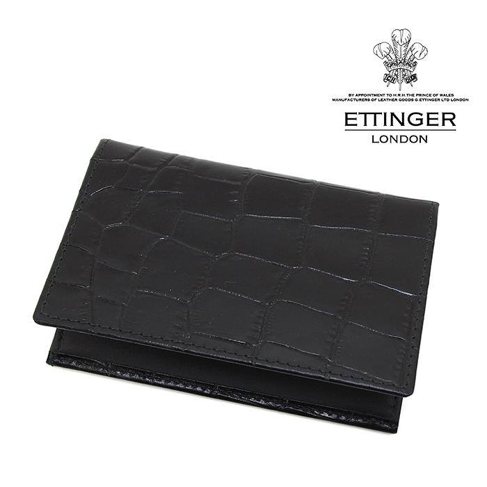ETTINGER エッティンガー CROCO COLLECTION/クロココレクション 143JR EBONY クロコ型押し名刺入れ カードケース ブラック