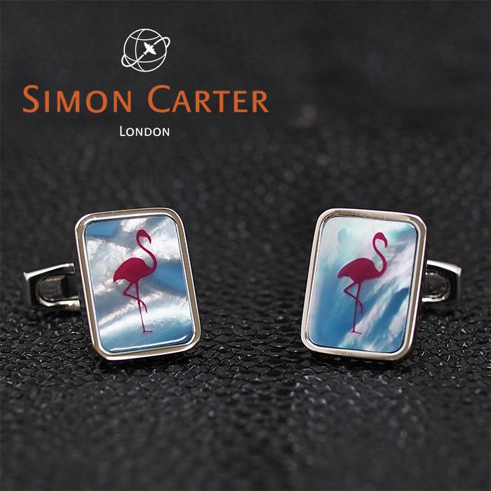 SIMON CARTER サイモンカーター カフス カフリンクス カフスボタン PINK FLAMINGO ブルー×シルバー BLUE MOP フラミンゴ サイモンカーター カフス カフスボタン メンズ