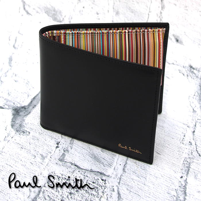Paul Smith ポールスミス 二つ折り財布 小銭入れ付き ブラック×マルチストライプ AUPC 4833 W761A ポールスミス 財布