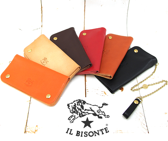 IL BISONTE イルビゾンテ ウォレットチェーン付き 二つ折り長財布 C0486P 全6色 イルビゾンテ 財布