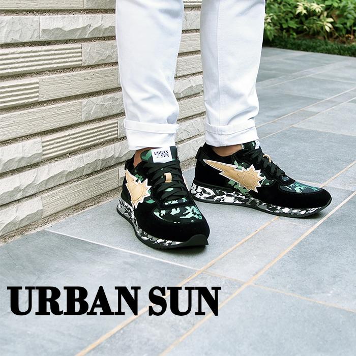 URBAN SUN アーバンサン メンズ スニーカー ANDRE アンドレ ブラック×グリーンカモフラージュ アーバンサン スニーカー