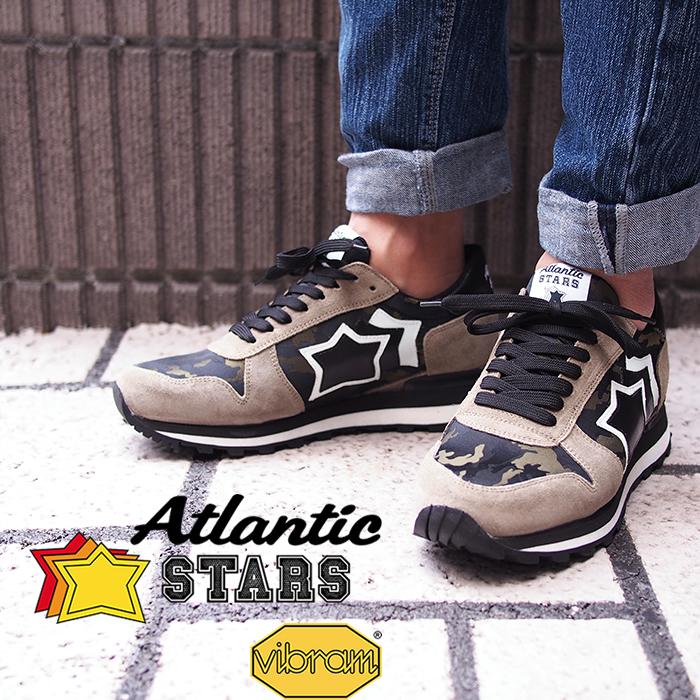 Atlantic STARS アトランティックスターズ メンズ スニーカー SIRIUS TM3-PR-NBNN カーキ×ブラック×カモフラ ビブラムソール SIRIUS シリウス アトランティックスターズ メンズ