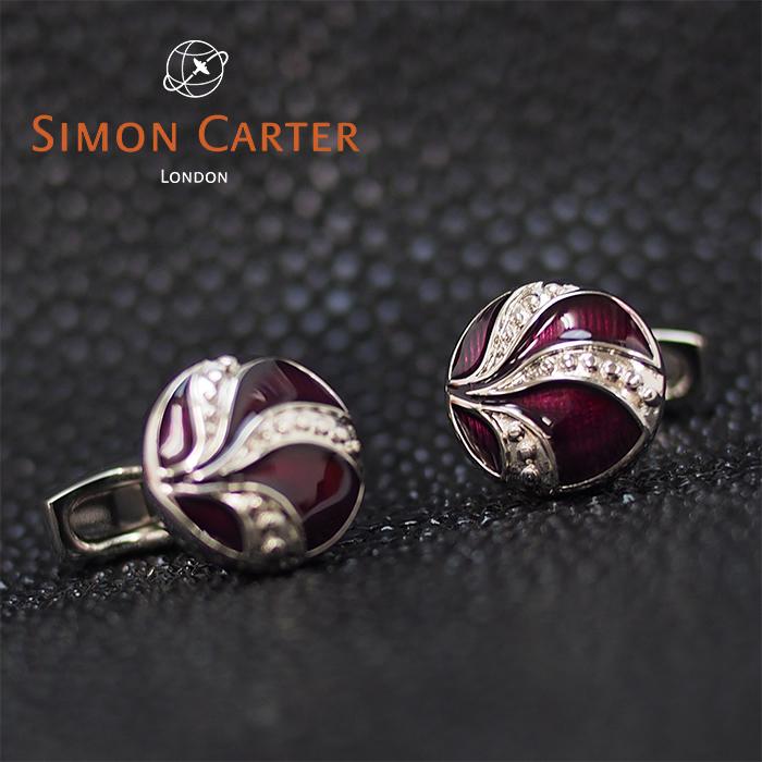 SIMON CARTER サイモンカーター カフス カフリンクス カフスボタン VINTAGE BUTTON PURPLE/パープル×シルバー サイモンカーター カフス
