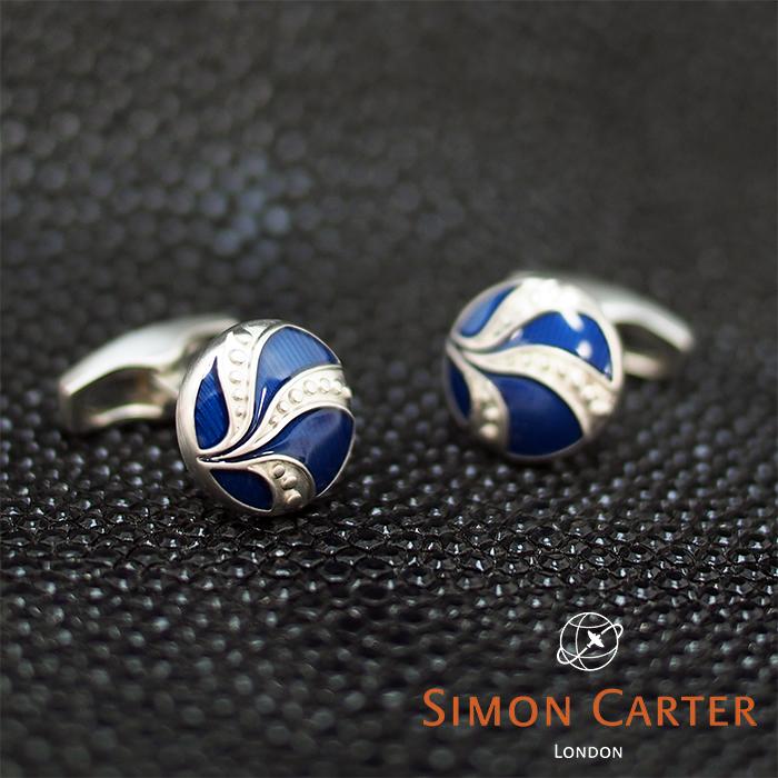 SIMON CARTER サイモンカーター カフス SIMON カフリンクス カフスボタン VINTAGE VINTAGE カフス BUTTON BLUE/ブルー×シルバー サイモンカーター カフス, 北村山郡:4e9d858b --- officewill.xsrv.jp