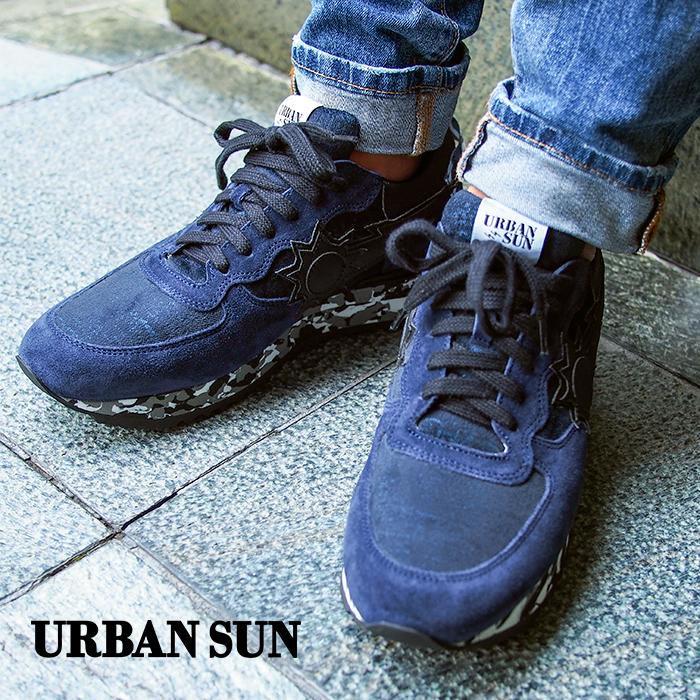 URBAN SUN アーバンサン メンズ スニーカー ANDRE アンドレ ネイビー×ブラック アーバンサン スニーカー