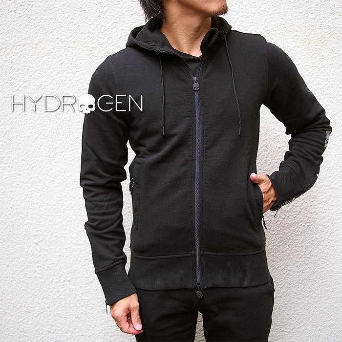 HYDROGEN ハイドロゲン メンズ ジップアップパーカー 250606 BLACK/ブラック SHARK FZ HOODIE スウェット ジップパーカー ハイドロゲン パーカー