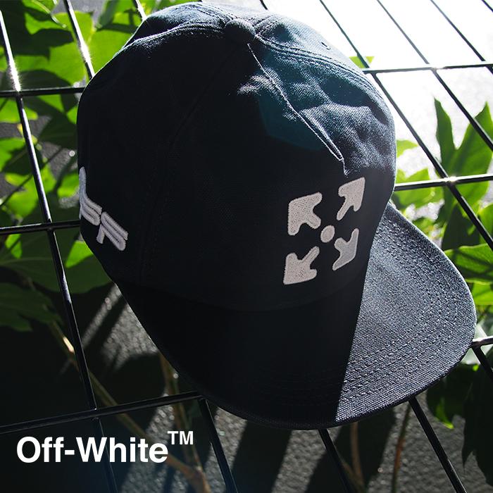 OFF WHITE オフホワイト アローロゴ刺繍 ベースボールキャップ ARROW 5 PANEL CAP BLACK WHITE OMLB022R20G81020 OFF-WHITE オフホワイト 帽子