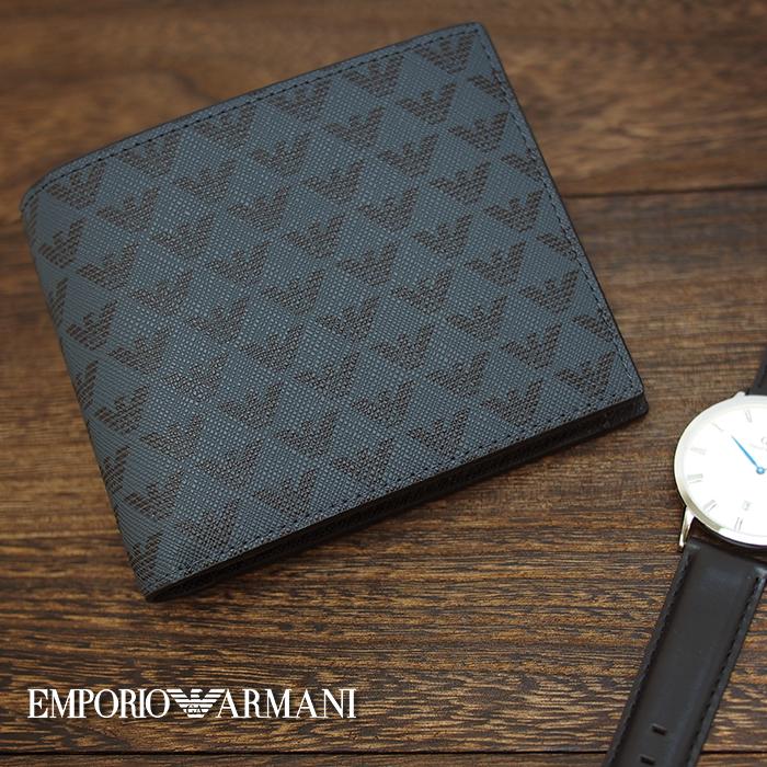 EMPORIO ARMANI エンポリオ アルマーニ イーグルロゴ 二つ折り財布 小銭入れ付き ブラック/グレー Y4R065 YG91J エンポリオアルマーニ 財布