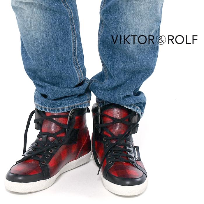 VIKTOR&ROLF ヴィクター&ロルフ WS0019 チェック柄 ハイカットスニーカー 046/ブラック×レッド