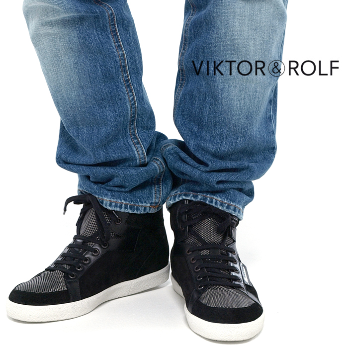 VIKTOR&ROLF ヴィクター&ロルフ WS0019 レザー切替 ハイカットスニーカー 001/ブラック