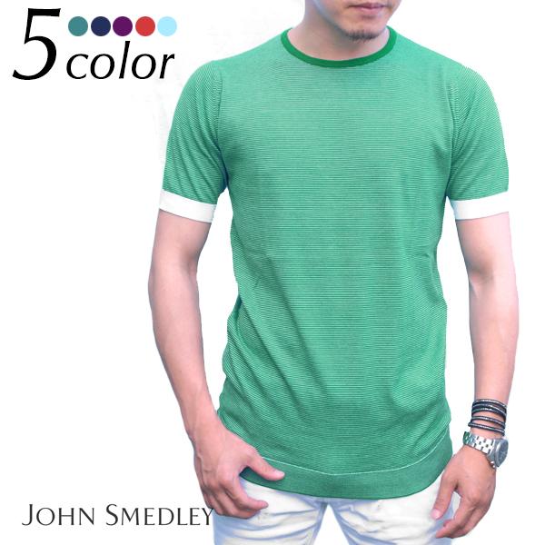 JOHN SMEDLEY ジョンスメドレー LANGSTON スリムフィット ボーダー半袖Tシャツ 全5色 tシャツ メンズ