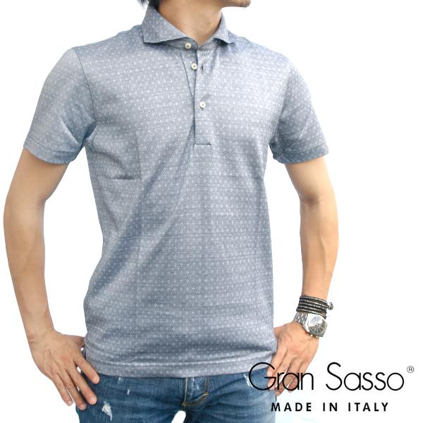 Gran Sasso グランサッソ ホリゾンタルカラー 半袖ポロシャツ 693/グレー 60102 72905