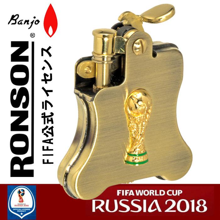 ロンソンオイルライターバンジョー 2018FIFA ワールドカップロシア限定トロフィーメタル アンティークブラス