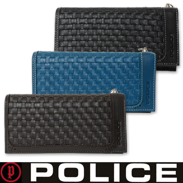 【送料無料】 POLICE(ポリス)メンズ長財布 メッシュ 牛革 レザー PA-57002 三色