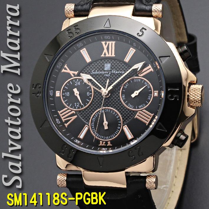 (キャッシュレス5%還元)腕時計メンズ 【Salvatore Marra】サルバトーレマーラ メンズ 腕時計 10気圧 多軸クォーツ 革ベルト 送料無料 SM14118S-PGBK