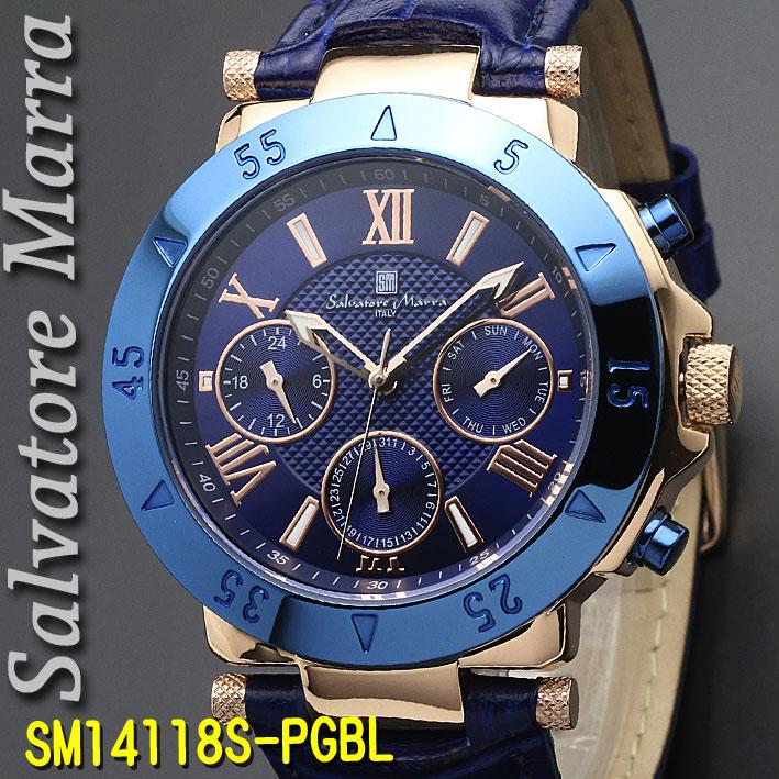 【7月・8月はいつでもポイント5倍!】腕時計メンズ 【Salvatore Marra】サルバトーレマーラ メンズ 腕時計 10気圧 多軸クォーツ 革ベルト 送料無料 SM14118S-PGBL