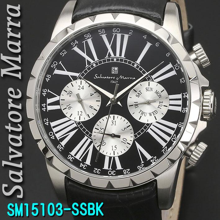 (キャッシュレス5%還元)腕時計メンズ 【Salvatore Marra】サルバトーレマーラ メンズ 腕時計 10気圧 マルチファンクション クォーツ 革ベルト 送料無料 SM15103-SSBK