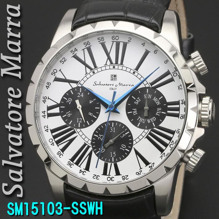 (キャッシュレス5%還元)腕時計メンズ 【Salvatore Marra】サルバトーレマーラ メンズ 腕時計 10気圧 マルチファンクション クォーツ 革ベルト 送料無料 SM15103-SSWH