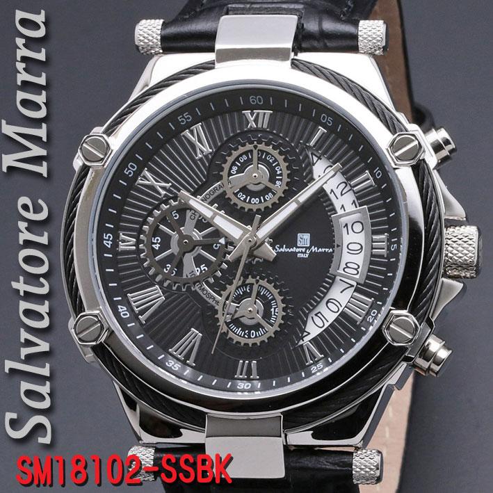 腕時計メンズ 【Salvatore Marra】サルバトーレマーラ メンズ 腕時計 10気圧 クロノグラフ 革ベルト 送料無料  SM18102-SSBK