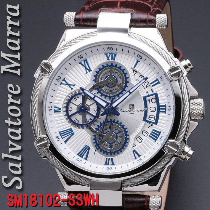 腕時計メンズ 【Salvatore Marra】サルバトーレマーラ メンズ 腕時計 10気圧 クロノグラフ 革ベルト 送料無料  SM18102-SSWH