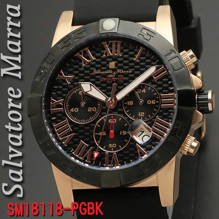 【7月・8月はいつでもポイント5倍!】腕時計メンズ 【Salvatore Marra】サルバトーレマーラ メンズ 腕時計 10気圧 クロノグラフ ウレタン×ステンレスベルト 送料無料 SM18118-PGBK