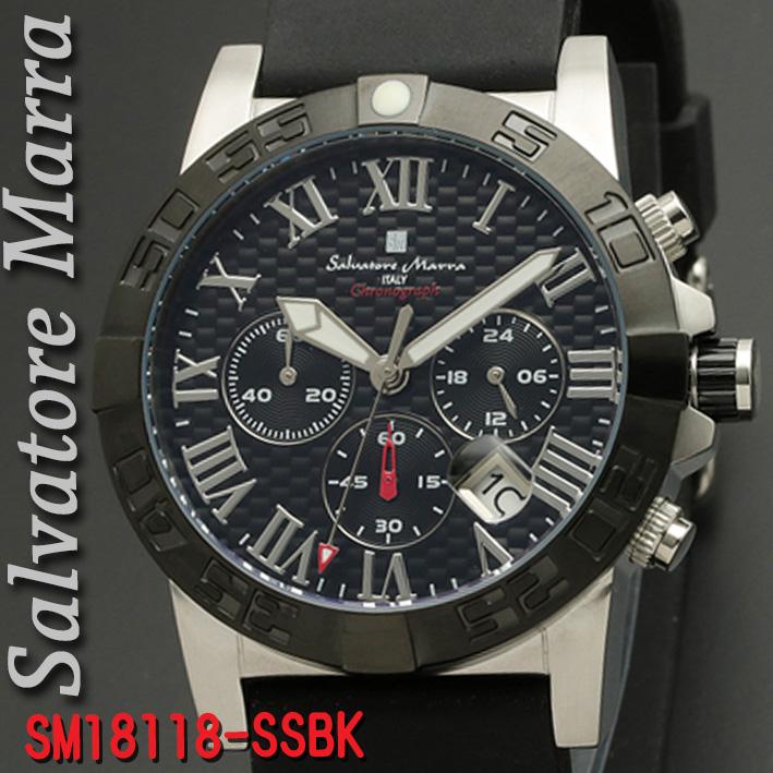 腕時計メンズ 【Salvatore Marra】サルバトーレマーラ メンズ 腕時計 10気圧 クロノグラフ ウレタン×ステンレスベルト 送料無料 SM18118-SSBK