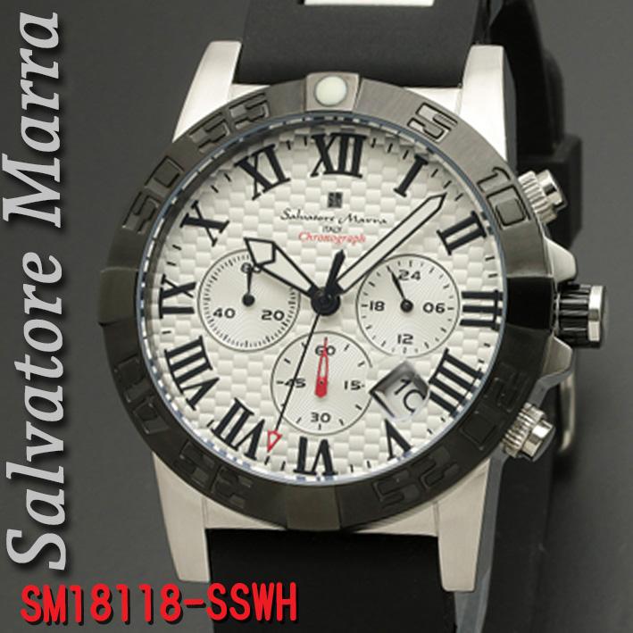 (キャッシュレス5%還元)腕時計メンズ 【Salvatore Marra】サルバトーレマーラ メンズ 腕時計 10気圧 クロノグラフ ウレタン×ステンレスベルト 送料無料 SM18118-SSWH