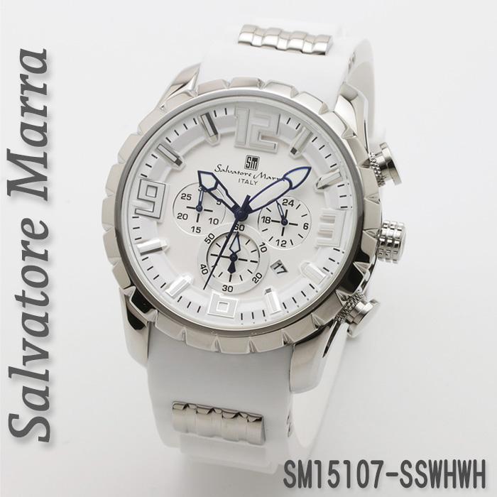 (キャッシュレス5%還元)腕時計メンズ 【Salvatore Marra】サルバトーレマーラ メンズ 腕時計 10気圧 クロノグラフ ラバーベルト 送料無料  SM15107-SSWHWH