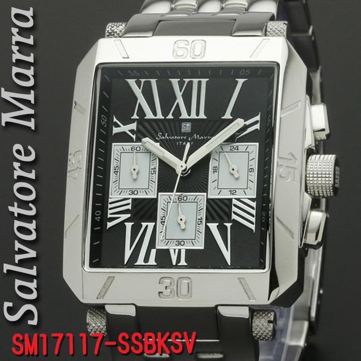 腕時計メンズ 【Salvatore Marra】サルバトーレマーラ メンズ 腕時計 クロノグラフ 角型 ステンレススチールベルト 5気圧防水 送料無料 SM17117-SSBKSV