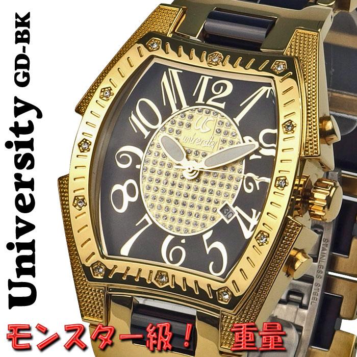腕時計 メンズ ユニバーシティ クオーツ トノー型腕時計 メンズ腕時計 うでどけい US203GD-BK 送料無料