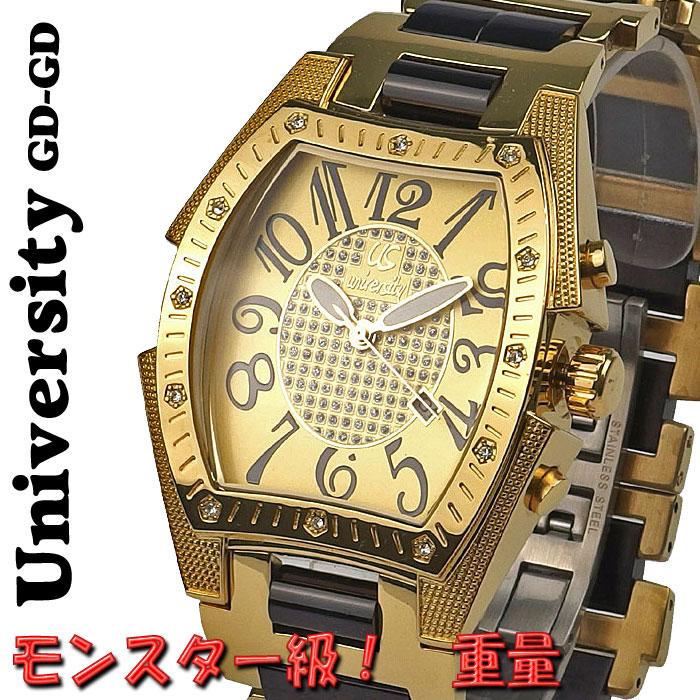 腕時計 メンズ ユニバーシティ クオーツ トノー型腕時計 メンズ腕時計 うでどけい US203GD-GD 送料無料