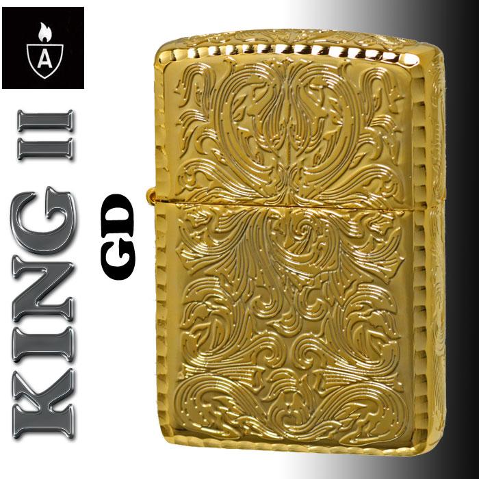 送料無料zippo(ジッポーライター)アーマー KING II (キング2) 5面加工 アラベスク GD ゴールド 金チャンバー仕様