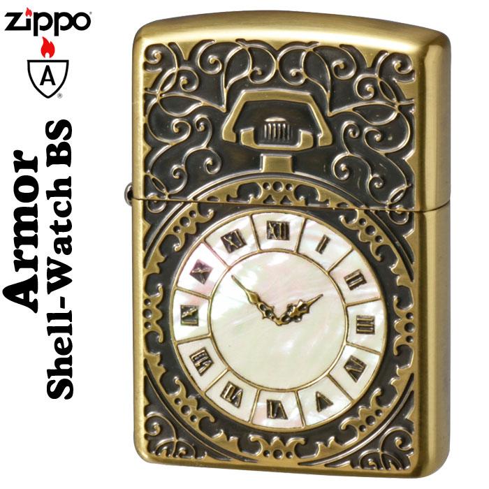(キャッシュレス5%還元) zippo アーマー (ジッポーライター) アーマー・シェルウォッチInlay (貝貼り) BS 両面加工
