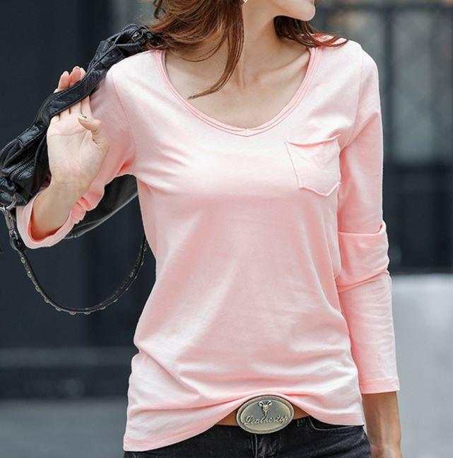 福岡店 新品 送料無料 代引不可 レディース 胸元ポケット サイズ:L 新色追加して再販 格安 価格でご提供いたします V字シンプル ロングTシャツ ピンク