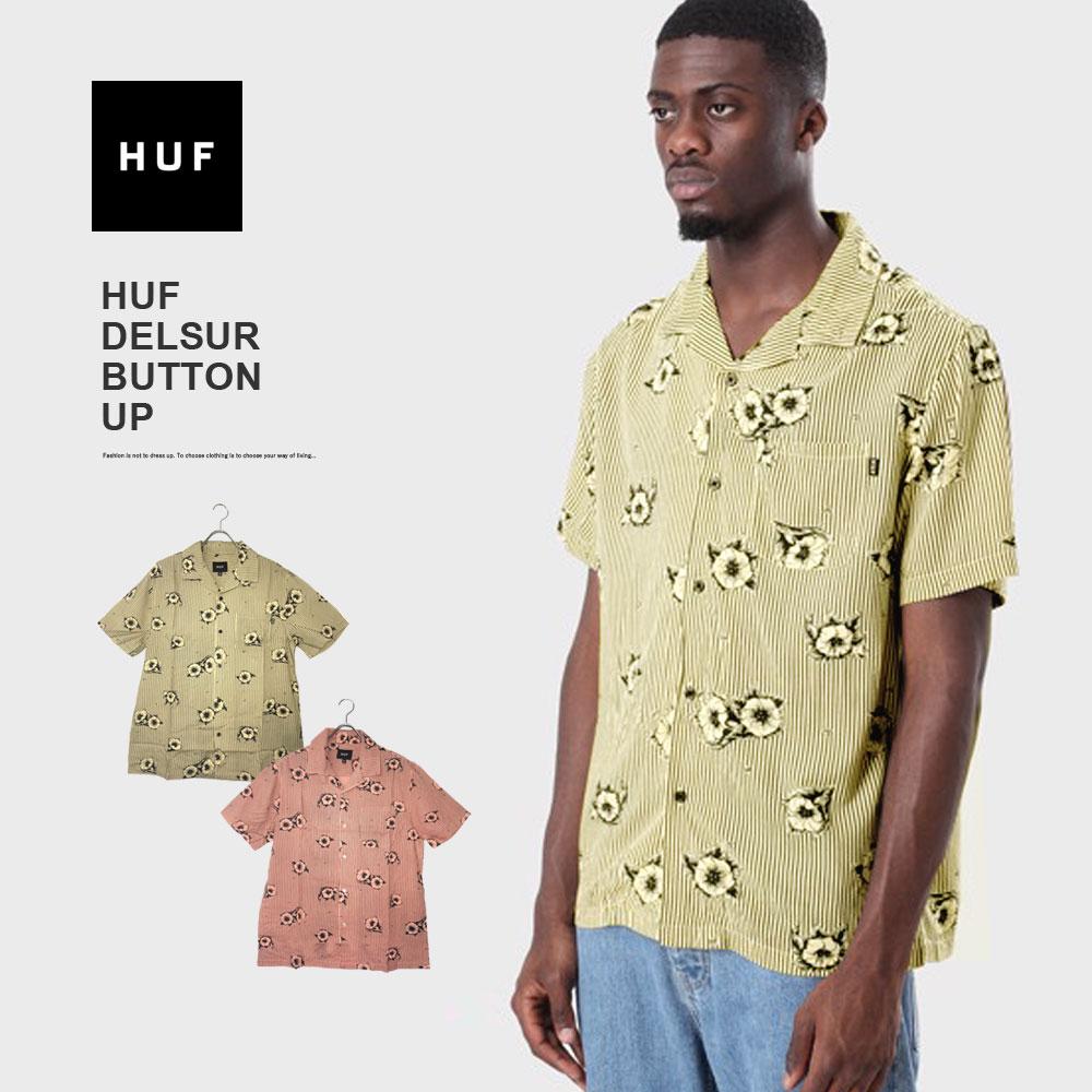 【メール便送料無料】 半袖 シャツ メンズ アロハシャツ 総柄 オープンカラー HUF DELSUR BUTTON-UP