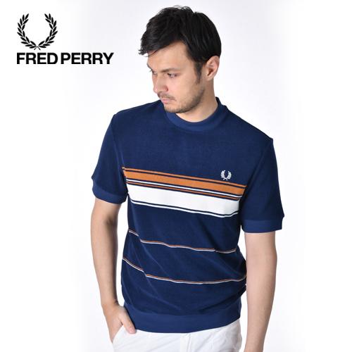 FREDPERRY/フレッドペリー ストライプドタオリングTシャツ STRIPED TOWELLING T-SHIRT M8802 [メンズ 半袖 Tシャツ ワンポイント クルーネック コットン シンプル おしゃれ かっこいい 春服 春物 春 夏服 夏物 夏 大人 彼氏 プレゼント]