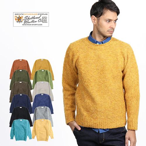 [SALE] Shetland Woollen Co./シェットランドウーレン シャギードッグセーター Shaggy dog wool sweater Crew[メンズ 長袖 ニット セーター クルーネック スコットランド ピュアウール おしゃれ かっこいい 冬服 冬物 冬 大人 彼氏 プレゼント]