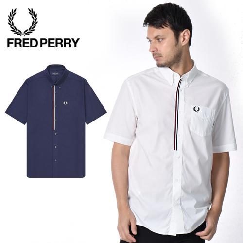 FRED PERRY/フレッドペリー テープドプラケットシャツ TAPED PLACKET SHIRT M8571[メンズ シャツ 半袖シャツ レギュラーシャツ ボタンダウン ビジネスシャツ おしゃれ かっこいい 春服 春物 春 夏 夏服 大人 彼氏 プレゼント]