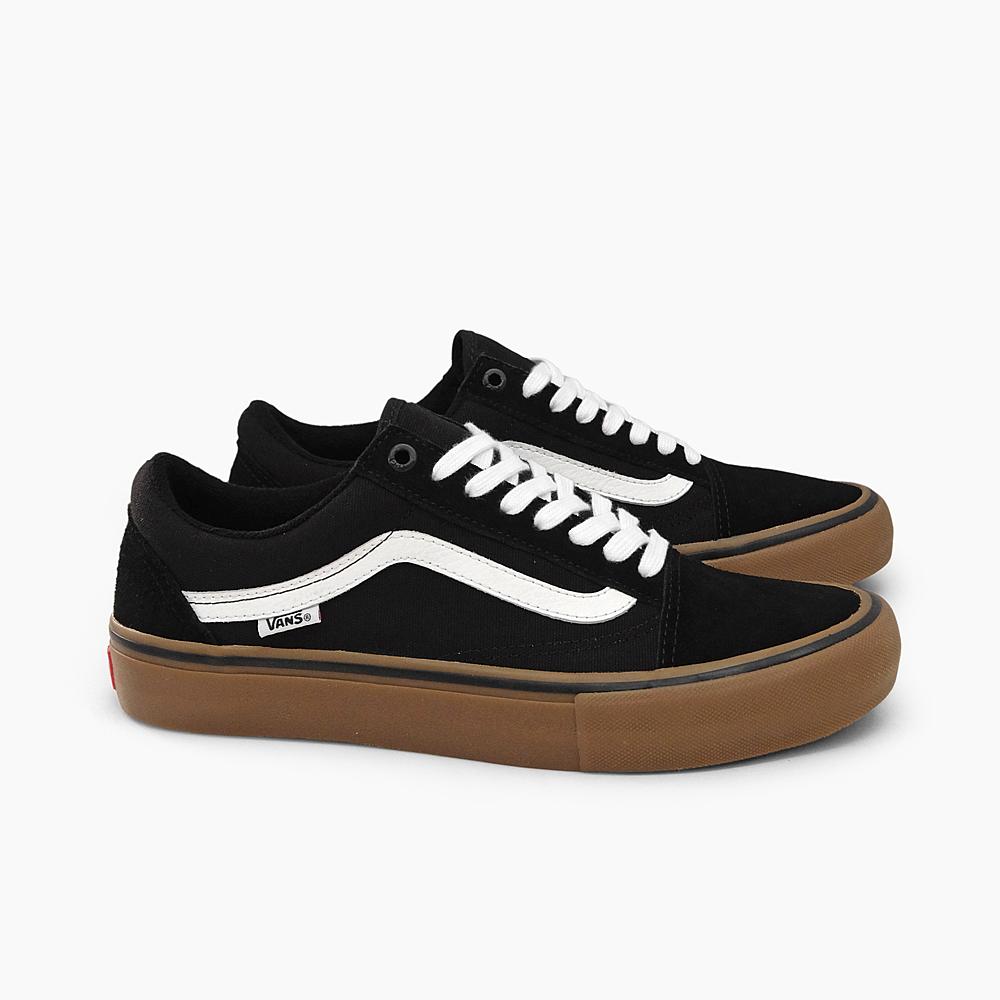 old skool vans black and white brown sole
