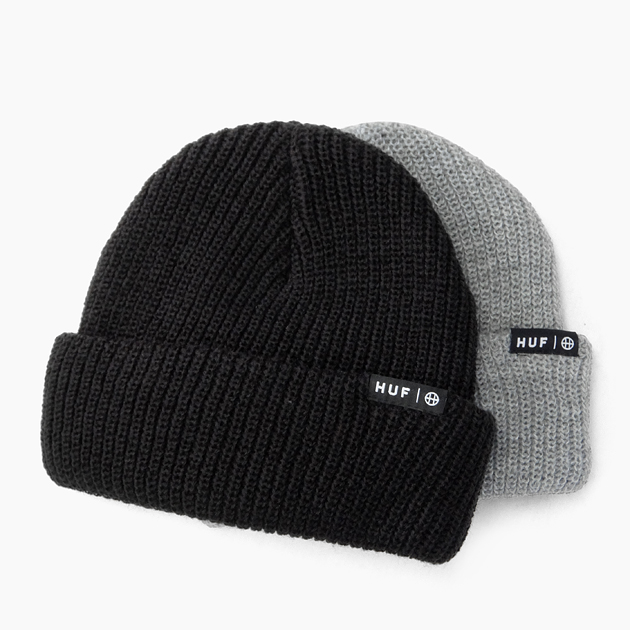 HUF ハフ ビーニー 男女兼用 キャップ 帽子 CAP メンズ レディース ニットキャップ USUAL BEANIE 黒 グレー KNIT ブラック BLACK HEATHER ニット帽 代引き不可 GREY