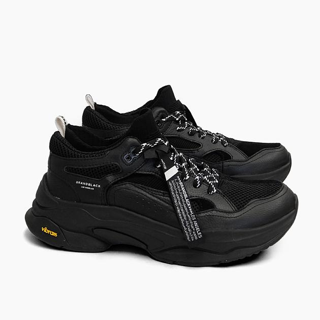 【並行輸入品】ブランドブラック メンズ スニーカー サガ BRANDBLACK SAGA [BLACK 426BB-BBK]ブランド ブラック 黒 オールブラック 靴 レザー ニット ダッドスニーカー プレゼント