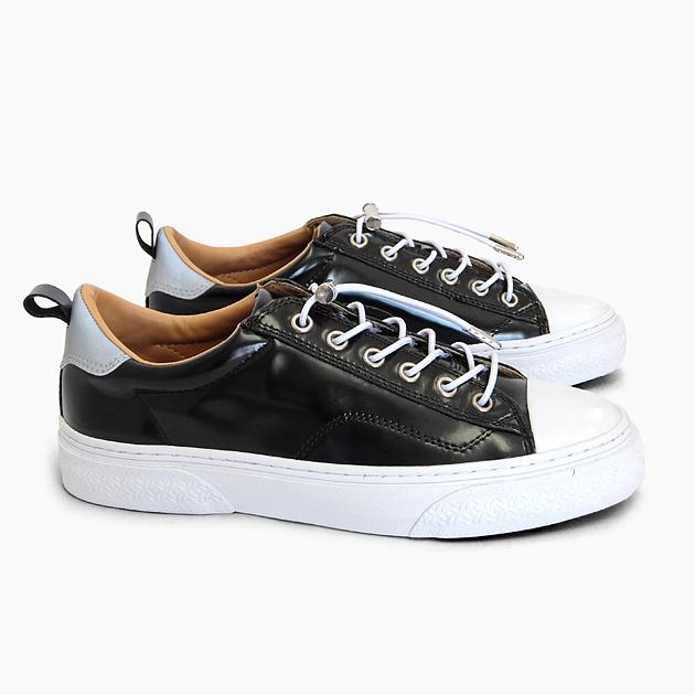 SLACK CLUDE [BLACK/WHITE SL1201001] スラック ローカット ガラスレザー スニーカー 黒 ブラック 靴 メンズ レディース 革 リフレクター コードロック プレゼント