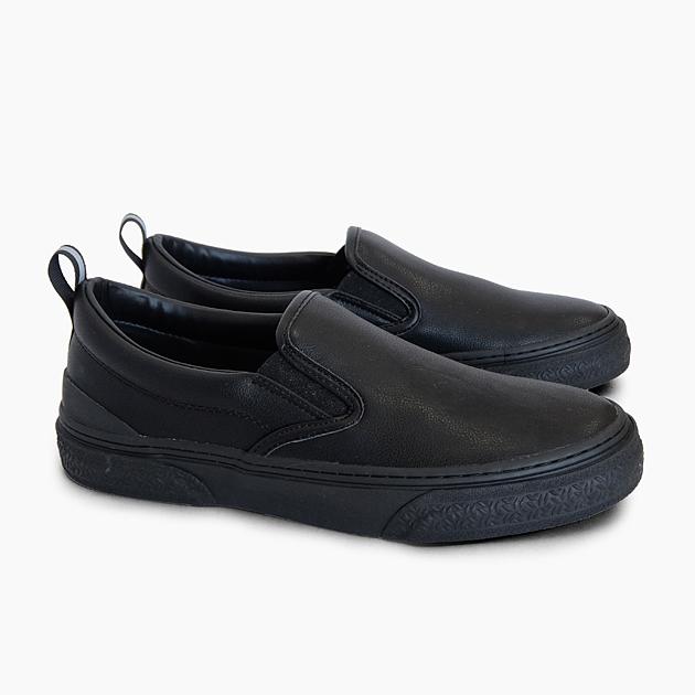 SLACK FOOTWEAR スニーカー CALMER 本日限定 LX BLACK SL1225003 スラック ローカット 黒 マイクロファイバーレザー スリッポン レディース オリジナル プレゼント ブラック 靴 リフレクター メンズ