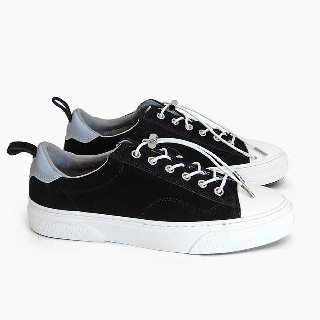 スラック スニーカー メンズ/レディース [SLACK FOOTWEAR CLUDE PREMIUM SUEDE BLACK/WHITE SL1401001] ローカット スエード 黒 靴 革 リフレクター プレゼント