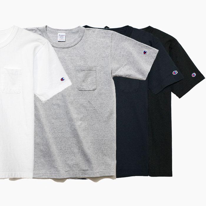 チャンピオン アメリカ製 Tシャツ USA 20%OFF CHAMPION C5-B303 T1011 半袖 IN 白 メンズ MADE 買い物 ポケットTシャツ 送料無料お手入れ要らず ネイビー 無地 黒 グレー