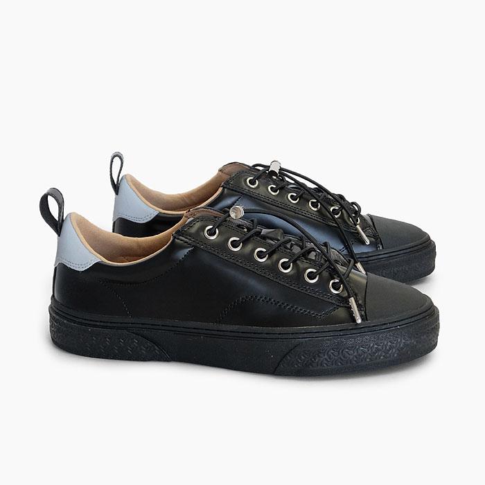 SLACK CLUDE GL [BLACK/BLACK SL1705003] スラック ローカット ガラスレザー スニーカー 黒 オールブラック 靴 メンズ レディース 革 リフレクター コードロック