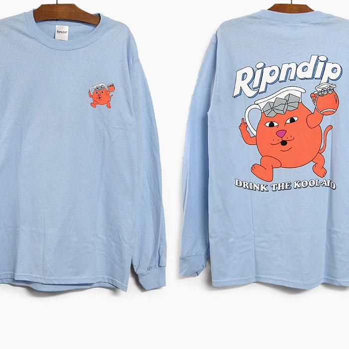 リップンディップ RIPNDIP ロンT 10%OFF 並行輸入品 DRINK ME LS 正規品スーパーSALE×店内全品キャンペーン TEE Tシャツ 特価 2021春夏 RND4958 ドリンクミー ロゴ 長袖 水色 メンズ ティーシャツ
